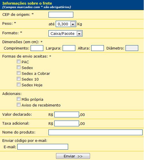 Calcular frete correios - Pac, Sedex e Sedex 10