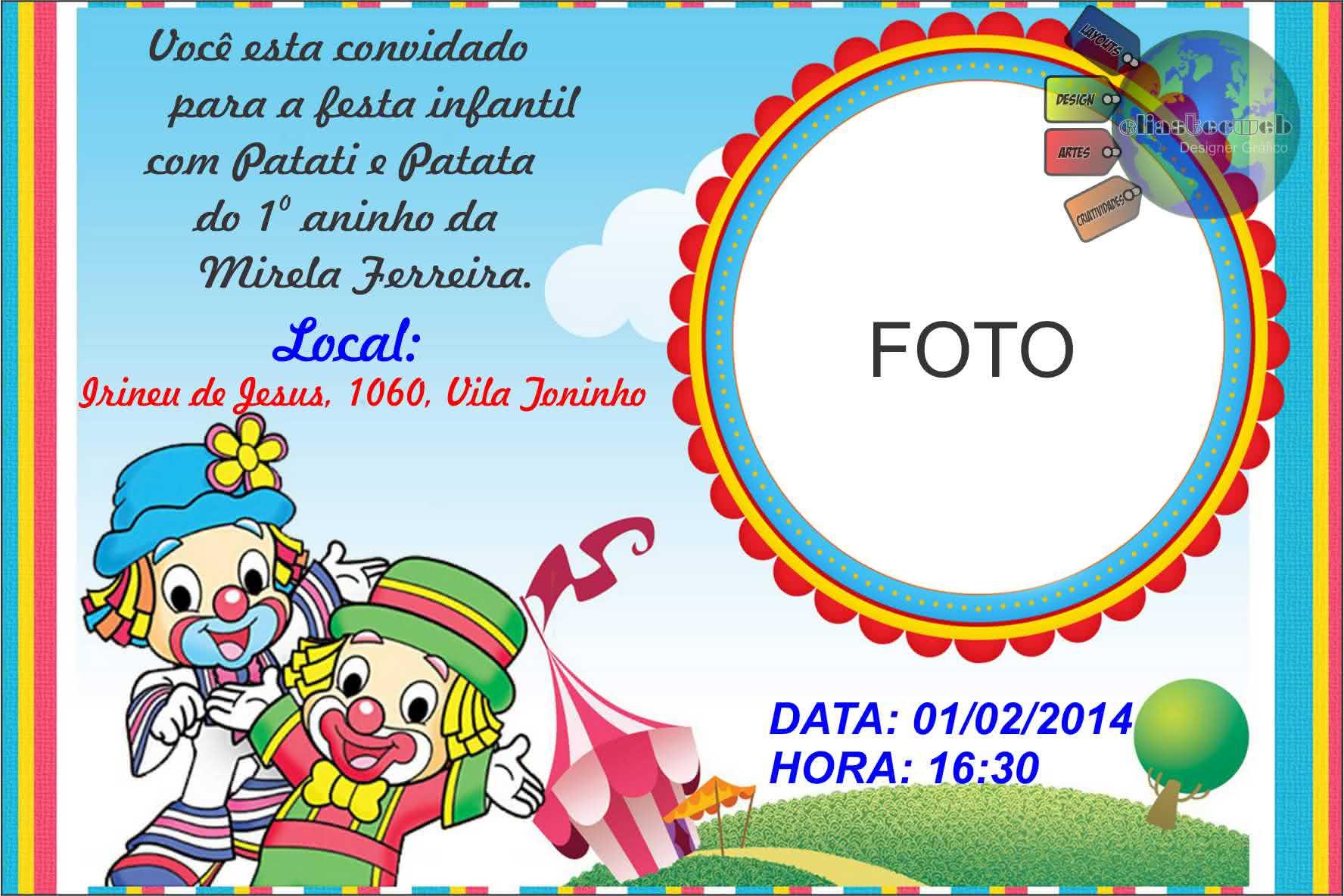 Convites De Aniversário Do Patati Patata